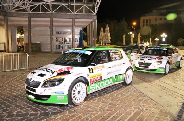 ERC 2014 RALLYE DU VALAIS -SKODA en force aussi 9 Fabia au départ dont Lappi le vainqueur sortant.