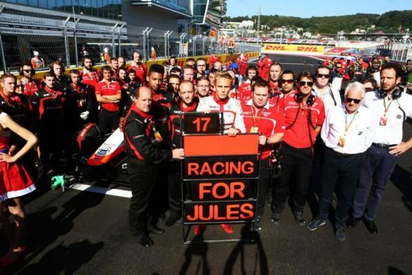 F1 2014 MARUSSIA et TOM CHILTON PENSENT EN PERMANENCE A SON PILOTE JULES BIANCHI.