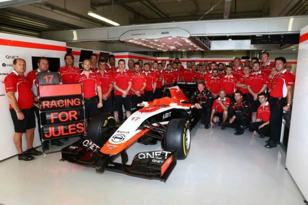 F1 2014 SOTCHI TEAM MARUSSIA HOMMAGE A JULES BIANCHI.