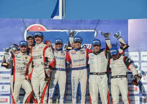 GT-TOUR-2014-PAUL-RICARD-Le-podium-de-la-1ére-Course-1ers-NARAC-et-ARMINDO-Photo-Antoine-CAMBLOR