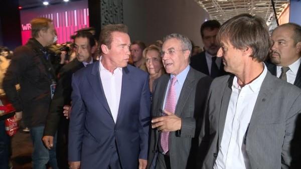 MONDIAL AUTO 2014 - visite Arnold Schwarzengger - Thierry Hesse - Nicolas Hulot