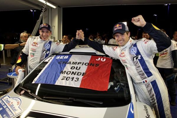 WRC 2013 ALSACE Sébastien Ogier et Julien Ingrassia fetent leur titre de CHAMPION du monde au volant de la Volkswagen Polo R WRC 3 octobre 2013 a STRASBOURG