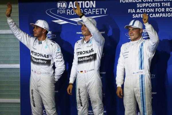 F1 2014 ABOU DHABI - les trois premiers des qualifications - HAMILTON 2 - ROSBERG 1er et BOTTAS 3éme