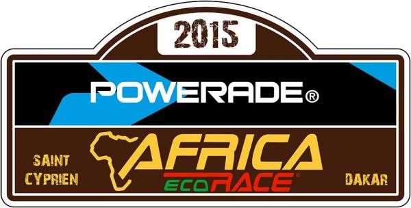 AFRICA RACE 2015  PLAQUE RALLYE avec POWERADE le nouveau partenaire
