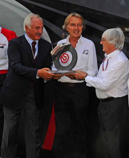 BERNIE Ecclestone et Luca Cordero di MONTEZEMOLO Prix BREMBO au GP ITALIE A MONZA le 8 SEPT 2012
