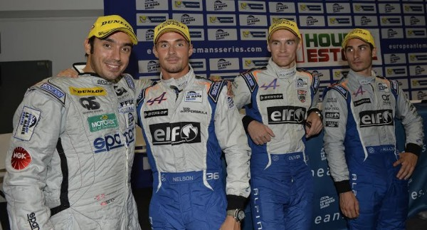 ELMS-2014-ESTORIL-Pierre-RAGUES-le-co-CHAMPION-2013-felicite-son-complice-Nelson-PANCIATICI-de-nouveau-sacre-avec-Paul-Loup-CHATIN-et-Oliver-WEBB-Photo-Max-MALKA