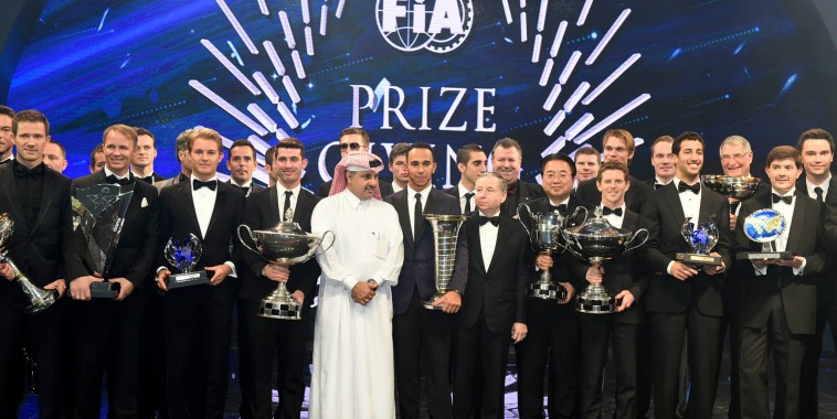 FIA 2014 Remise des Prix - Tous les CHAMPIONS DU MONDE de la saison 2014 avec Jean TODT President de la FIA et Nasser AL ATTYAH President de la Federation du QATAR.j