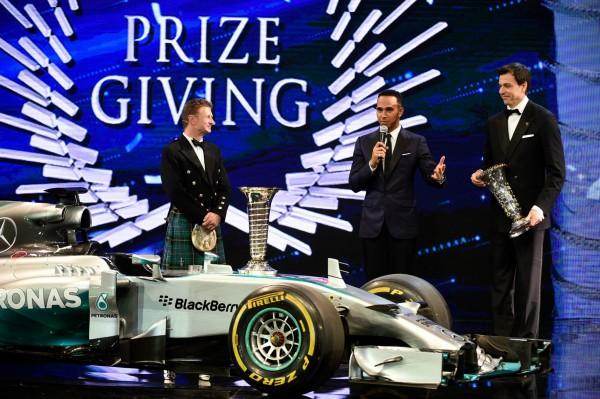 FIA 2014 Remise des Prix a DOHA au QATAR La MERCEDES CHAMPIONNE du Monde de F1 avec Lewis HAMILTON ET PAR EQUIPE avec Toto WOLFF et ALLAN McNISH.