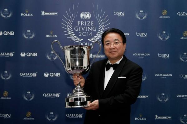 FIA-2014-Remise-des-Prix-a-DOHA-au-QATAR-YOSHIASHI-KINOSHITA-President-du-Team-TMG-TOYOTA-Double-CHAMPION-du-Monde-endurance-WEC