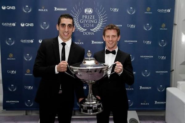 FIA-2014-Remise-des-Prix-a-DOHA-au-QATAR-le-vendredi-5-decembre-Les-CHAMPIONS-du-Monde-Endurance-WEC-DAVIDSON-et-BUEMI