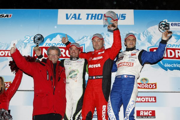 TROPHEE ANDROS 2014 2015 VAL THORENS Le podium de la 1ére course avec DAYRAUT LAGORCE et HEKKINEN Photo Bernard BAKALIAN.