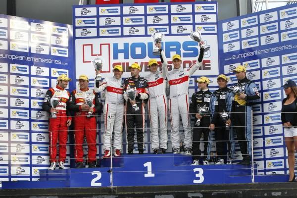 LMS 2014 SILVERSTONE - Le podium avec THIRIET VAINQUEUR - RACE PERFORMANCE second et NEWBLOOB by MORAND.