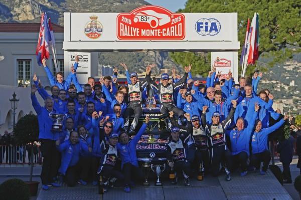 MONTE CARLO 2015- TRIPLE POUR LES PILOTES du TEAM VW avec les vainqueurs Sebastien OGIER et Julien INGRASSIA sur le podium final et leurs dauphins LATVALA et MIKKELSEN
