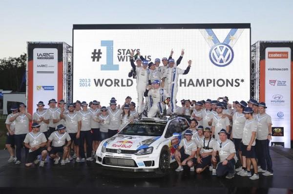 WRC-2014-AUSTRALIE-LE-TEAM-VW-CHAMPION-DU-MONDE-DES PILOTES et aussi des CONSTRUCTEURS.