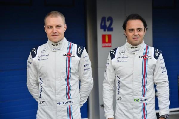 F1-2015-JEREZ-Presentation-des-deux-pilotes-du-Team-WILLIAMS-MERCEDES-Valterri-BOTTAS-et-Felipe-MASSA-Photo-Max-MALKA