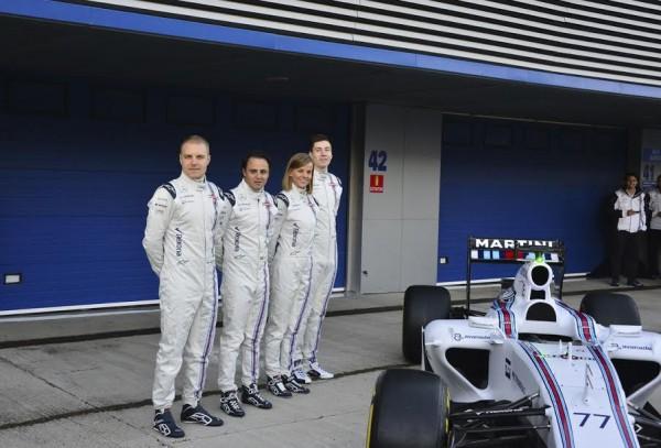 F1-2015-JEREZ-Presentation-Team-WILLIAMS-MERCEDES-et-de-ses-quatre-pilotes-les-deux-titulaires-BOTTAS-et-MASSA-et-les-deux-reservistes-Susie-WOLFF-et-Photo-Max-MALKA