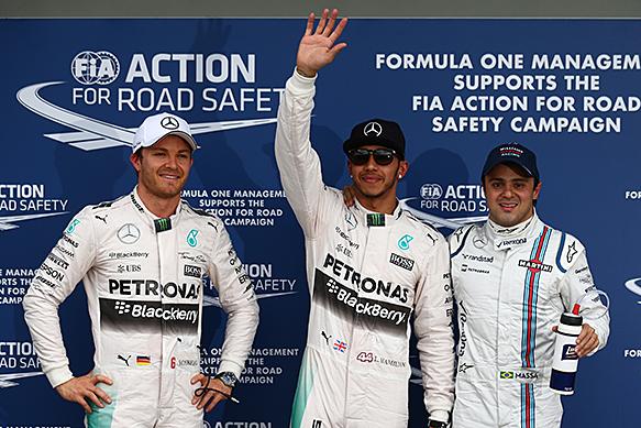 F1 2015 MELBOURNE - Les trois premiers des qualifications - 1 HAMILTON- 2 ROSBERG - 3 MASSA le samedi 14 mars
