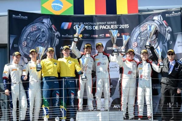 BLANCPAIN-SPRINT-SERIES-2015-NOGARO-COUPE-de-PAQUES-Les-vainqueurs-sur-le-podium-de-la-1ére-course-dimanche-5-avril-Photos-Antoine-CAMBLOR