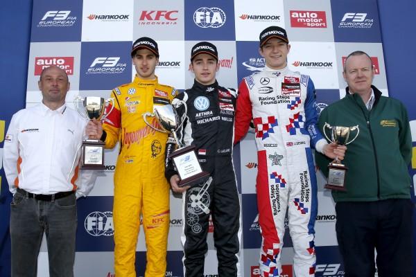F3 2015 SILVERSTONE- Le podium dimanche 12 avril de la 3éme course avec LECLERC GIOVINAZZI et.