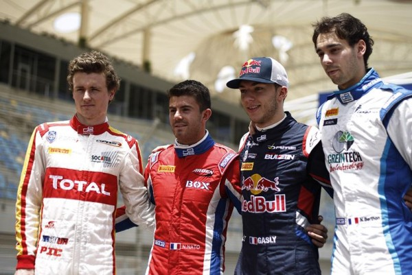 GP2-2015-Les-pilotes-FRANCAIS-Arthur-PIC-Norman-NATO-Pierre-GASLY-et-Nathanael-BERTHON