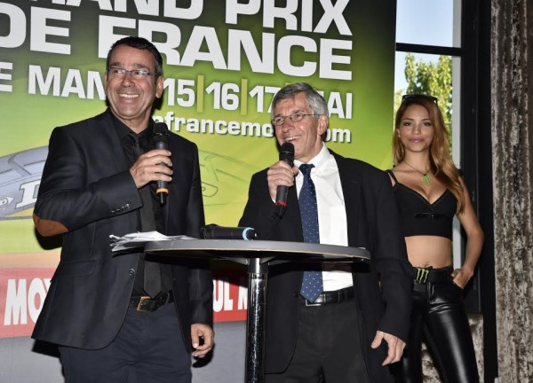 MOTO-GP-2015-GP-DE-FRANCE-Remi-TISSIER-et-Claude-MICHY-lors-de-la-présentation-le-23-avril-à-PARIS-Photo-Max-MALKA