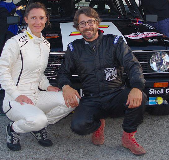 Sébastien Bonnisseau en compagnie de Marie, son épouse, lors du Rallye Festival Trasmiera, en Espagne, en septembre 2014. devanbt la Ford Escort MK II Groupe 4