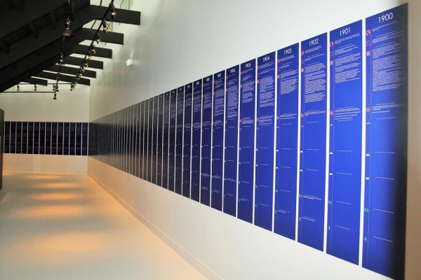 CONSERVATOIRE-de-la-MONOPLACE-FRANCAISE-Espace-frise-chronologique-relant-tous-les-grands-evenements-de-lAUTOMOBILE-de-1900-a-2000-Photo-Emmanuel-LEROUX.