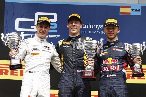 GP2 2015 BARCELONE Le podium de la seconde course le 10 Mai avec Alex LYNN Stoffel VANDOORNE et Pierre GASLY