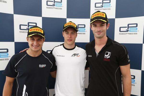 GP2-2015-BARCELONE-les-trois-1ers-VANDOORNE-EVANS-et-ALEX-ROSSI.