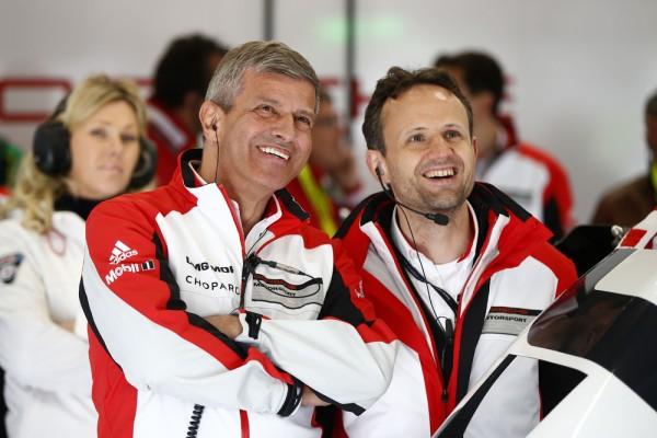 WEC-2015-SPA-Stand-PORSCHE-Fritz-Enzinger-Vice-President-LMP1-et-Alexander-Hitzinger-Directeur-Technique-LMP1