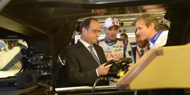 2015-06-13-FranÁois Hollande 24 heures du Mans  Visite stand toyota images GuyDurand Abaca pool elysÈe.