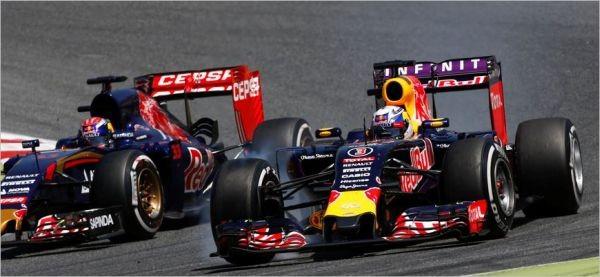 F1-2015-BARCELONE-TORO-ROSSO-et-RED-BULL RENAULT a-la-lutte