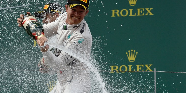 F1 2015 RED BULL RING La grande joie de NICO ROSBERG aprés sa 1ére place sur le podium le 21 juin.