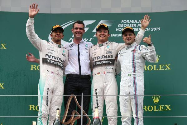 F1 2015 RED BULL RING Le podium avecv ROSBERG Vainqueur devvant HAMILTON et MASSA