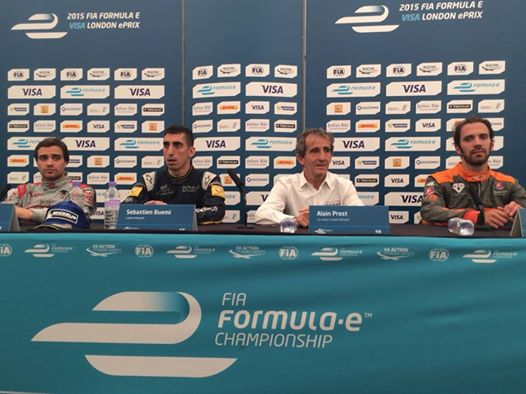 FORMULE E 2015 LONDRES La confrence de presse des trois 1ers et Alain PROST PATRON Team e dams RENAULT Champion par équipes