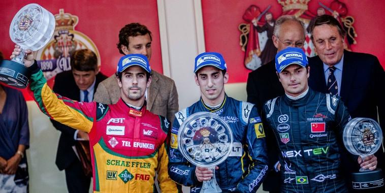 FORMULE E  2015  MONACO le podium avec BUEMI le vainqueur devant di GRASSI et Nelsinho PIQUET
