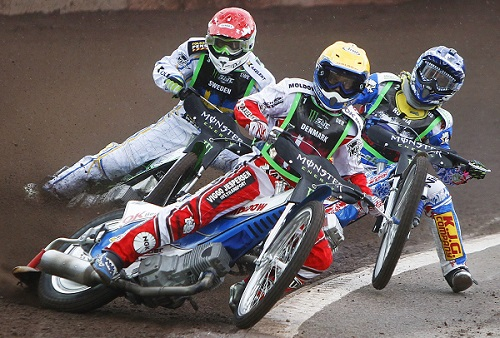Denmark's Nicki Pedersen (C) competes with Sweden's Peter Ljung (L) and Russia's Gregory Laguta in a race heat during the 2012 FIM Monster Energy Speedway World Cup Final in Malilla, Sweden, July 14, 2012. REUTERS/Ted Karlsson/Scanpix Sweden (SWEDEN - Tags: SPORT MOTORSPORT) THIS IMAGE HAS BEEN SUPPLIED BY A THIRD PARTY. IT IS DISTRIBUTED, EXACTLY AS RECEIVED BY REUTERS, AS A SERVICE TO CLIENTS. SWEDEN OUT. NO COMMERCIAL OR EDITORIAL SALES IN SWEDEN. NO COMMERCIAL SALES