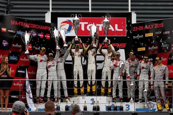24-HEURES-DE-SPA-2015-Le-podium-avec-les-pilotes-de-la-BMW-MARC-VDS-victorieux-sdevantceux-des-AUDI-WRT-et-PHOENIX-Photo-DANY-et-DANIEL-DELIEN.