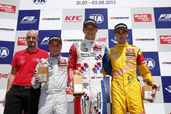 F3 2015 RED BULL RING Podium de la 1ére course - JAKE DENNIS victorieux devant ROSENQVIST et GIOVINAZZI