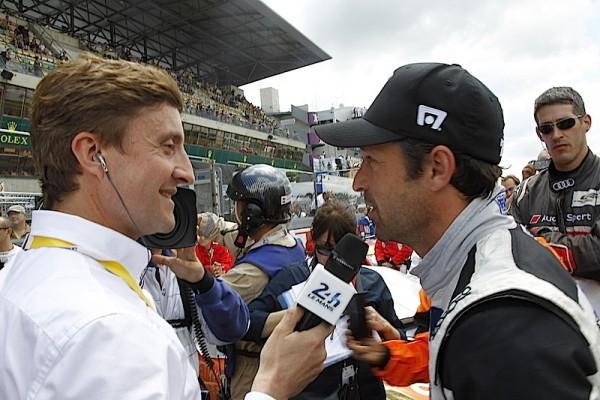 Aux 24 Heures du Mans Patrick DEMPSEY interviewé avant le départ par le speaKer Bruno VANDESTYCK