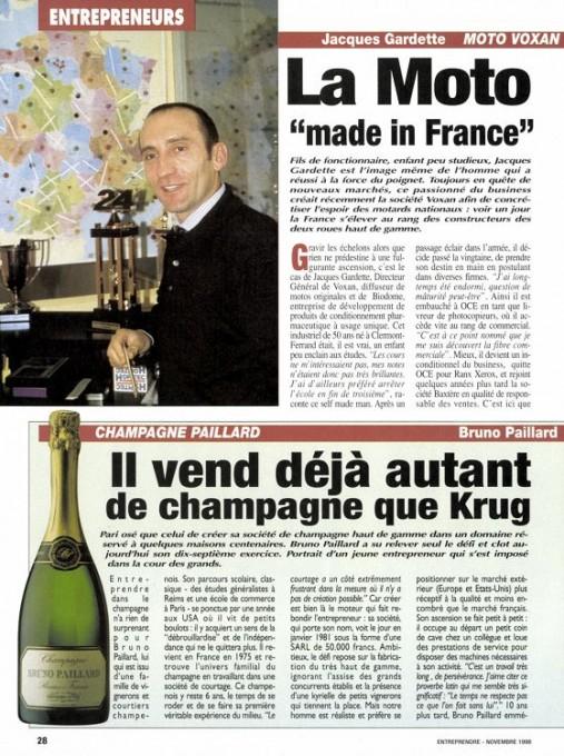 """LE MAGAZINE """"ENTREPRENDRE"""" EN 1998, AUSSI IMPORTANT QUE LE CHAMPAGNE!"""