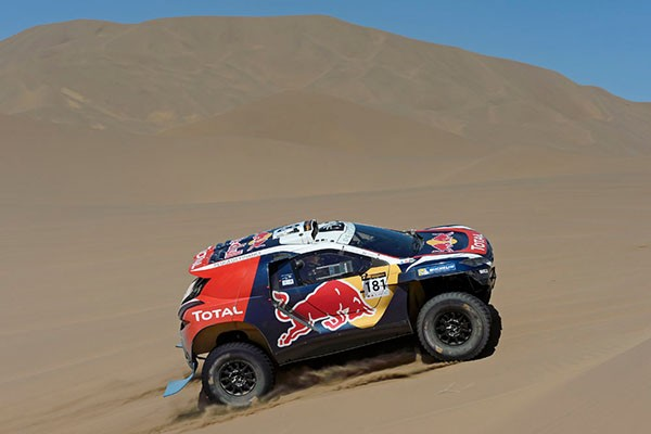 CHINA-SILK-ROAD-RALLY-2015-Peterhansel-en-action. PETERHANSEL STEPHANE - COTTRET JEAN-PAUL - FRA - PEUGEOT 2008 DKR during the 2015 China Silk Road rally, stage 8, from Axla YouQi to Zhang Ye on september 6th 2015, China. Photo Eric Vargiolu / DPPI