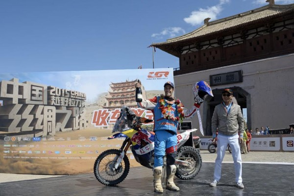 CHINA-SOLK-ROAD-RALLY-2015-Monleon-Hernandez-le-vainqueur-moto Photo Eric Vargiolu / DPPI