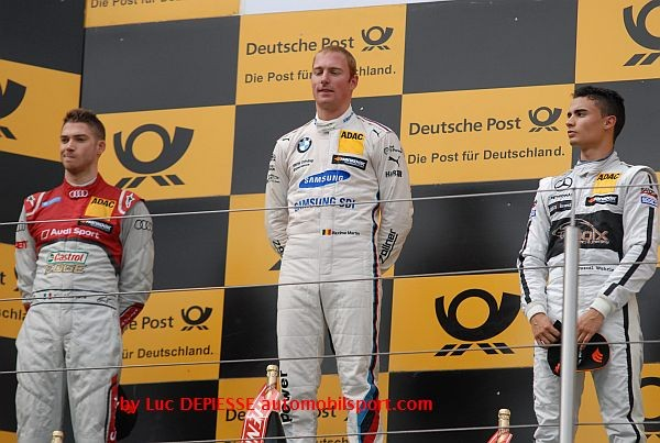 DTM 2015 NURBURGRING Le podium de la 1ére course avec le vainqueur MAXIME MARTIN devant MORTRARA et WEHRLEIN.