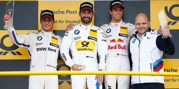 DTM-2015-OSCHERSLEBEN-Posium-avec-TIMO-GLOCK-1er-devant-Bruno-SPENGLER-et-Antonio-Felix-da-COSTA.