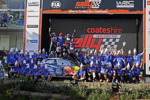 WRC 2015 AUSTRALIE OGIER INGRASSIA CHAMPIONS DU MONDE pour la 3éme fois le dimanche 13 Septembre et VW e