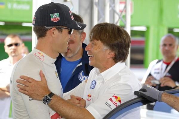 WRC-2015-POLOGNE-JOST-CAPITO-félicite-Sébastien-OGIER-le