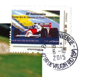 ALAIN-PROST-CARTE-POSTALE-avec-TIMBRE-daté-du-6-Octobre-2015-dte-du-30éme-anniversaire-du-1er-titre-de-CHAMPION-du-MONDE-du-pilote-Français-