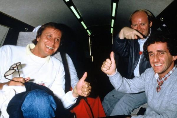 GILLES-GAIGNAULT-MANSOUR-OJJEH-ALAIN-PROST-6-octobre-1985-Falcon-TAG-retour-Brands-Hatch.