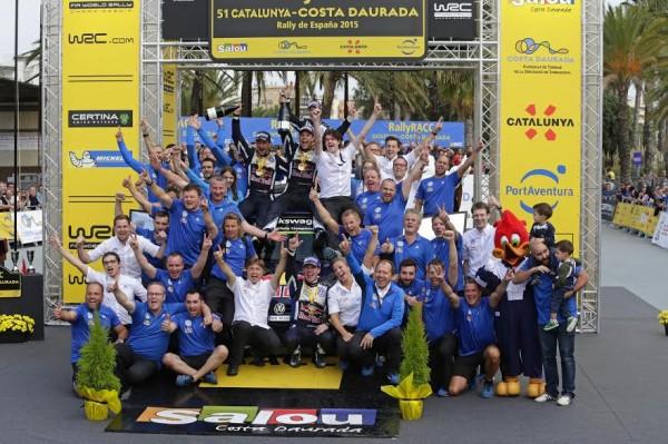 WRC 2015 ESPAGNE Victoire et doublé du Team VW POLO avec MIKKELSEN 1er et LATVALA 2éme ce dimanche 25 Octobre à SALOU.